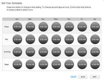 XFINITY Home Thermostat Scheduler - Set Your Schedule Wizard