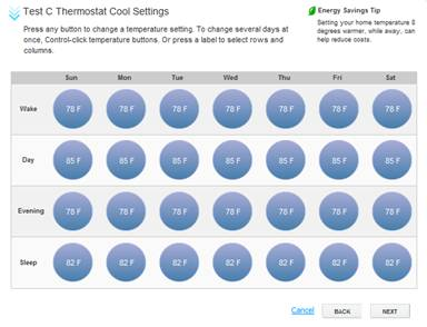 XFINITY Home Thermostat Scheduler - Test C Thermostat Cool Settings Screen