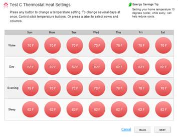 XFINITY Home Thermostat Scheduler - Test C Thermostat Heat Settings Screen