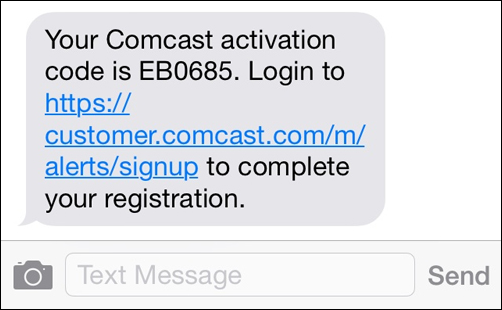A text message provides a code and a link to enter the code and complete registration.