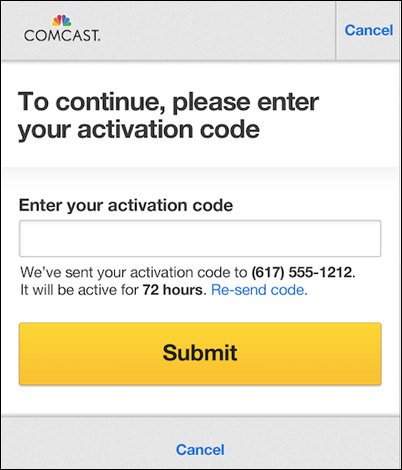 At the center of the mobile device screen is a field for entering the activation code. The Submit button is below the field.