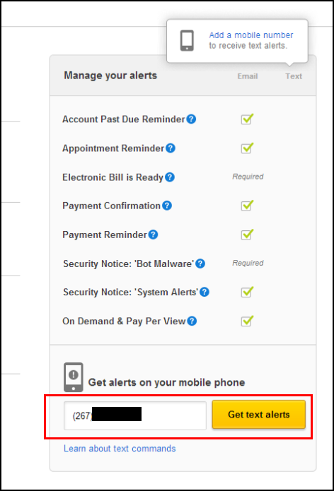 At the bottom of the screen is a field for entering your mobile phone number to receive text alerts. The yellow Get text alerts button is to the right of the field.