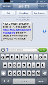 Manage Text Alerts from Comcast - sample of activation code sent to mobile device via SMS