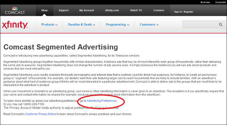 Comcast Segmented Advertising screen contains Advertising Preferences link.