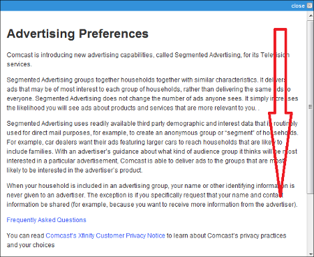 Screen presents details about Advertising Preferences