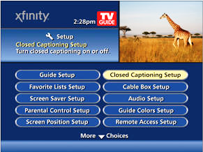 Closed Captioning Setup screen displays.