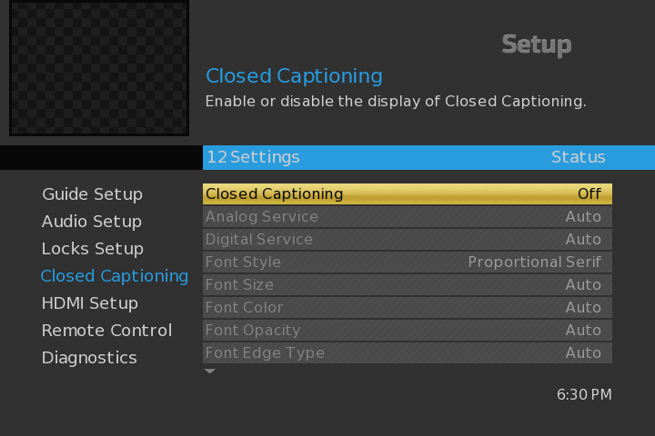 Option to select closed captioning and closed captioning options are displayed in the Setup menu.