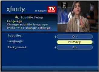 Subtitle Setup screen shows Primary language selected.
