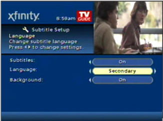 Subtitle Setup screen shows Secondary language selected.
