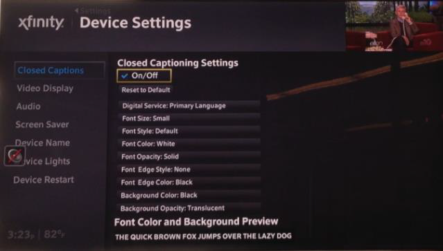 Device Settings displays with Closed Captioning Options