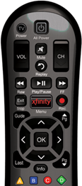XFINITY remote control is displayed.