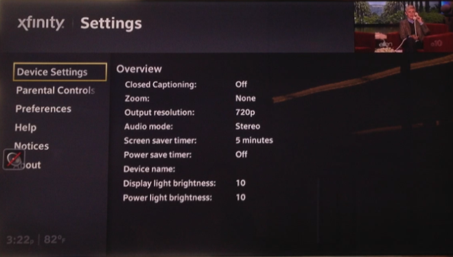 Device Settings are displayed