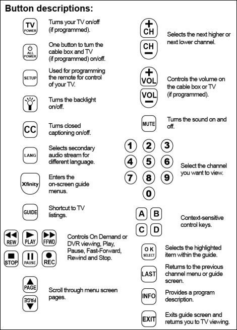 A diagram of buttons on the large-button remote and descriptions of functions is displayed.  The descriptions are listed above this image.