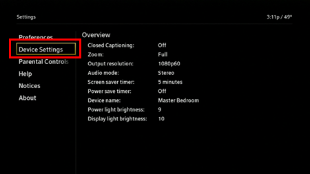 The Device Settings are reached from the left-hand side of the Settings menu, the second item from the top.