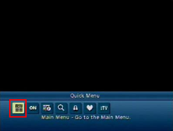 The Main Menu option can be accessed via the Quick Menu on legacy XFINITY TV guides on Motorola and Cisco set-top boxes.  It is the first icon on the left in the Quick Menu.