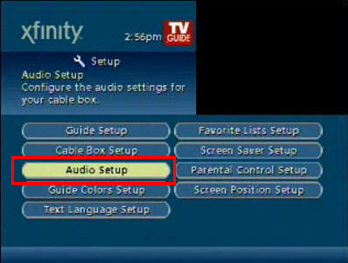 After selecting Setup, continue to navigate to Audio Setup.  This is the third option in the first column.