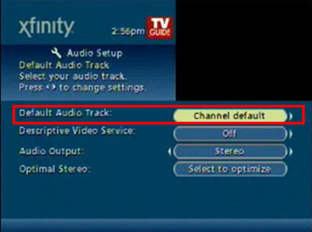 In Audio Setup, select Default Audio track, which defaults to Channel default.