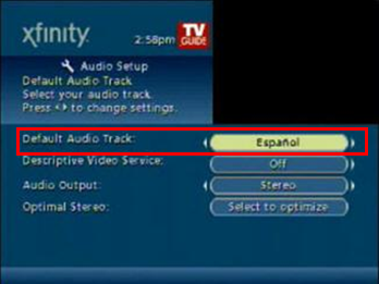 Change the Default Audio Track option to Espanol or Spanish.