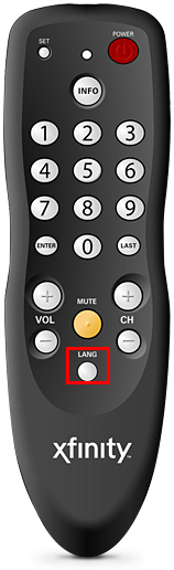 XFINITY's DTA remote control; the LANG button is at the bottom of the remote, in the center column, below the Mute button.