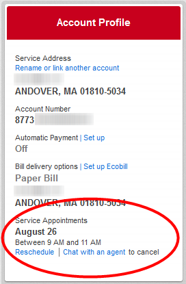 Reschedule link is located under appointment time in Account Profile box.