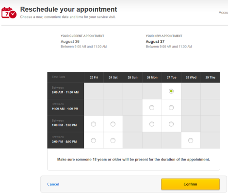 Reschedule Your Appointment Screen offers options for dates and times.