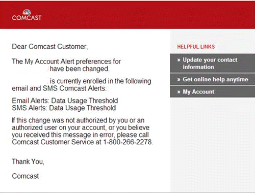 Email message confirms changes in Comcast Alerts preferences.