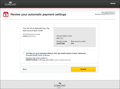 Screen displays Comcast account and bank account information, confirms monthly payments.