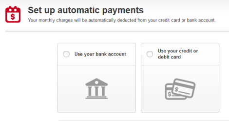 Screen displays options for automatic payment methods.