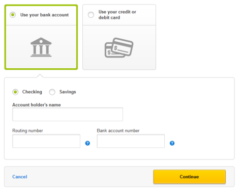 Screen displays fields for bank account holder's name, bank routing number, and bank account number.