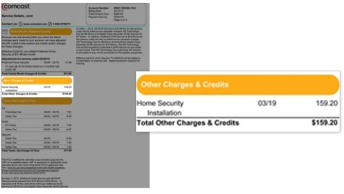 Image displays the Other Charges and Credits section at left side of the bill.