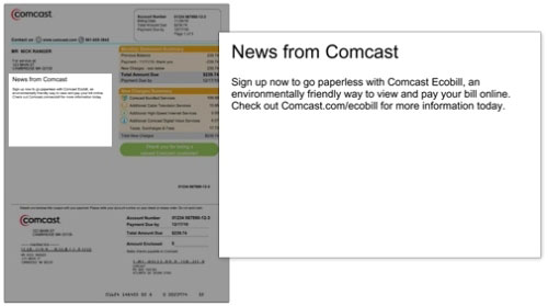 Bill shows latest Comcast news and messages about your account.