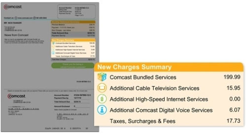 Image highlights summary of new charges on right side of bill.