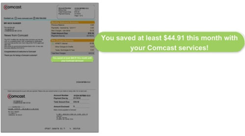 Image highlights savings message on right side of bill under New Charges Summary.