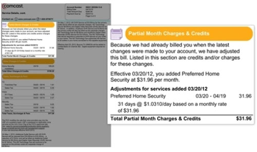 Image displays the Partial Month Charges & Credits section toward upper left of the bill.