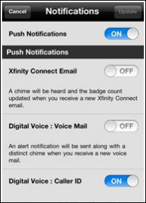 XFINITY Connect app notifications display with Push Notifications slider near the top