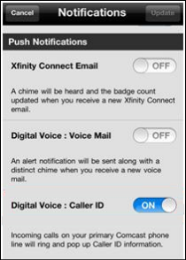 The Digital Voice: Caller ID button is the third option on the XFINITY Connect app push notifications screen