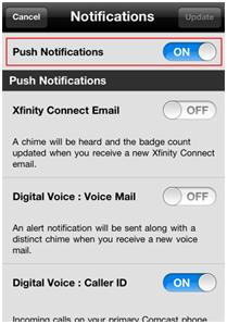 XFINITY Connect app notifications display with prompt to slide on Push Notifications.