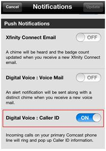 "XFINITY Connect app push notifications options screen.  The Digital Voice: Caller ID button is the third option on the screen.  The description of this button reads: ""Incoming calls on your primary Comcast phone line will ring and pop up Caller ID information."""