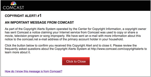 A copyright alert message is displayed