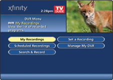 DVR Menu screen - My Recordings selection