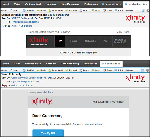 "This is an image of 2 sample emails from XFINITY On Demand and Comcast Online Communications. The ""xfinity Learn more"" logo is in the upper right corner of the email body."