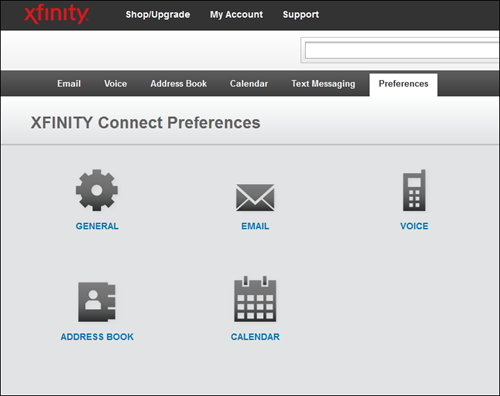 The options for XFINITY Connect Preferences are General, Email, Voice, Address Book and Calendar.