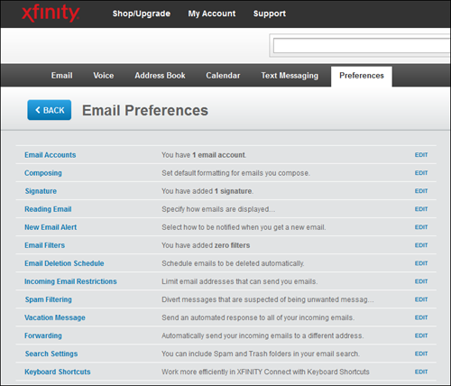 The XFINITY Connect Email Preferences menu lists several options, including Signature.