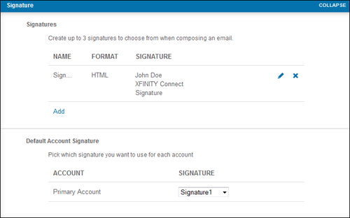 The Signature settings in the XFINITY Connect Email Preferences menu allow the user to match one of the three saved signatures with either the primary or secondary accounts.