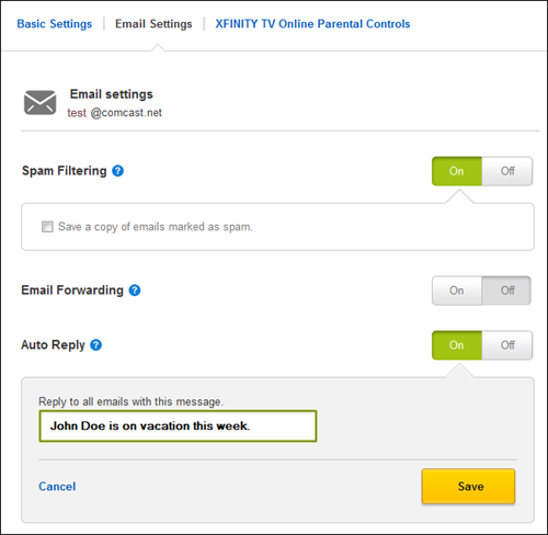 The Email Settings Menu in My Account allows the user to configure Spam Filtering, Email Forwarding and Auto Reply.