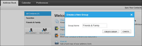 You will be taken to the Address Book screen where a Create a New Group pop-up window allows you to enter a group name and the option to click Create Group.