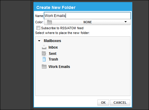 The Create a New Folder pop-up allows you to name, color-code and place the new folder in relation to the other folders. There is also an RSS update option.