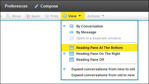 On the XFINITY Connect Inbox screen, the View option allows you to configure your screen in three ways.