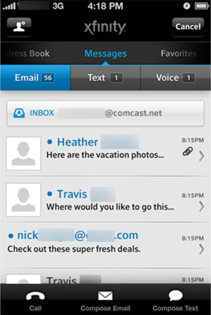 "XFINITY Connect mobile app - the ""Email"" screen"