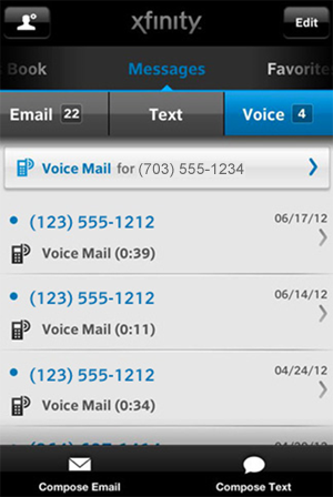 "XFINITY Connect mobile app - the ""Voice"" screen"